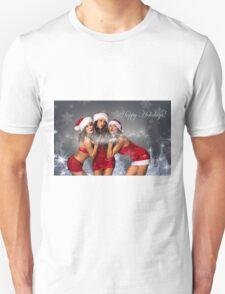 Sexy Santa's Helpers Holiday postcard Wallpaper Template - 3 girls Unisex T-Shirt
