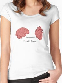 I'm with stupid print Women's Fitted Scoop T-Shirt