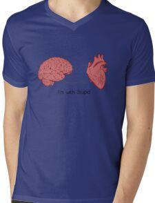 I'm with stupid print Mens V-Neck T-Shirt