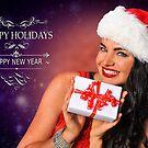 Sexy Santa's Helper Holiday postcard Wallpaper Template on dark Background by Anton Oparin