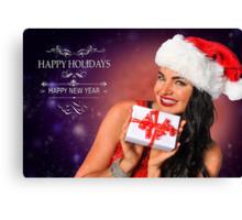 Sexy Santa's Helper Holiday postcard Wallpaper Template on dark Background Canvas Print