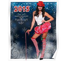 Sexy Santa's Helper postcard wallpaper template design for 2015 Poster
