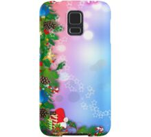 3d two colors winter holiday background with Christmas tree elements Samsung Galaxy Case/Skin