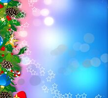 3d two colors winter holiday background with Christmas tree elements by Anton Oparin