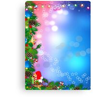 3d two colors winter holiday background with Christmas tree elements Canvas Print