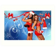 Sexy Santa's Helpers Holiday postcard, Wallpaper, Club Flyer Template with musical notes on blue 3D background Art Print