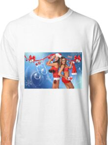 Sexy Santa's Helpers Holiday postcard, Wallpaper, Club Flyer Template with musical notes on blue 3D background Classic T-Shirt