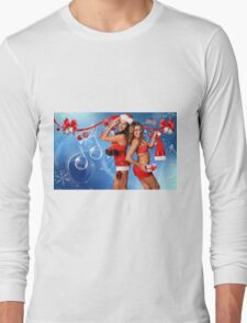 Sexy Santa's Helpers Holiday postcard, Wallpaper, Club Flyer Template with musical notes on blue 3D background Long Sleeve T-Shirt
