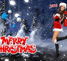 Sexy Santa's Helper holding bag with gifts - Merry Christmas postcard wallpaper template by Anton Oparin