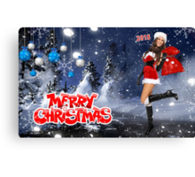 Sexy Santa's Helper holding bag with gifts - Merry Christmas postcard wallpaper template Canvas Print