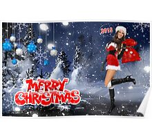 Sexy Santa's Helper holding bag with gifts - Merry Christmas postcard wallpaper template Poster
