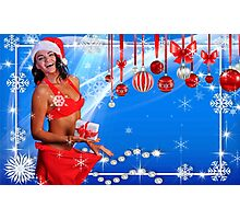 Happy Winter Holidays postcard, wallpaper template  with Sexy Santa's Helper holding a gift box and showing how she lost weight Photographic Print