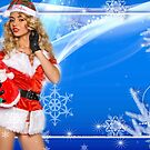 Sexy Santa's Helper postcard wallpaper template design with Santa Claus doll by Anton Oparin