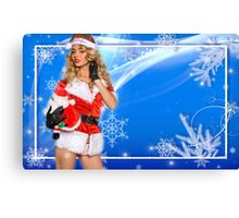 Sexy Santa's Helper postcard wallpaper template design with Santa Claus doll Canvas Print