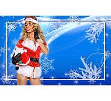Sexy Santa's Helper postcard wallpaper template design with Santa Claus doll Photographic Print