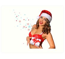 Sexy Santas Helper girl great image on white isolated BG Art Print