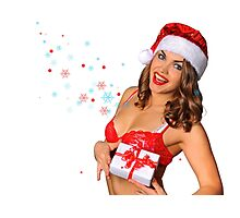 Sexy Santas Helper girl great image on white isolated BG Photographic Print
