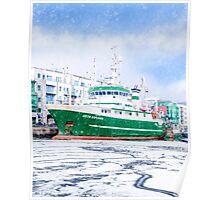 Galway Harbor In Winter - RV Celtic Explorer At Port Poster