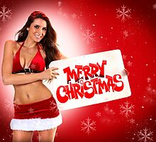 Sexy Santa's Helpers Holiday postcard on Red 3D Background with Snowflakes by Anton Oparin