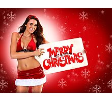 Sexy Santa's Helpers Holiday postcard on Red 3D Background with Snowflakes Photographic Print