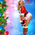 Sexy Santa's Helper Holiday 2 colored BG postcard  by Anton Oparin