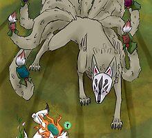 Amaterasu vs Ninetails by Jelecy