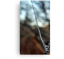 A strand of drops along the web Canvas Print