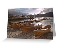 Windermere Rowing Boats at Sunset Greeting Card