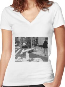 New York Street Photography 37 Women's Fitted V-Neck T-Shirt