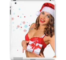 Sexy Santas Helper girl great image on white isolated BG iPad Case/Skin