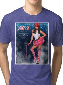 Sexy Santa's Helper postcard wallpaper template design for 2015 Tri-blend T-Shirt