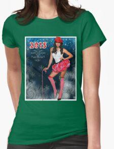 Sexy Santa's Helper postcard wallpaper template design for 2015 Womens Fitted T-Shirt
