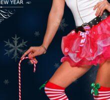 Sexy Santa's Helper postcard wallpaper template design for 2015 Sticker