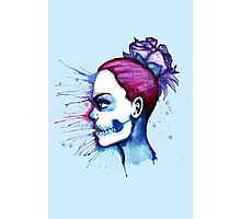 Blue Purple Sugar Skull Watercolor Photographic Print