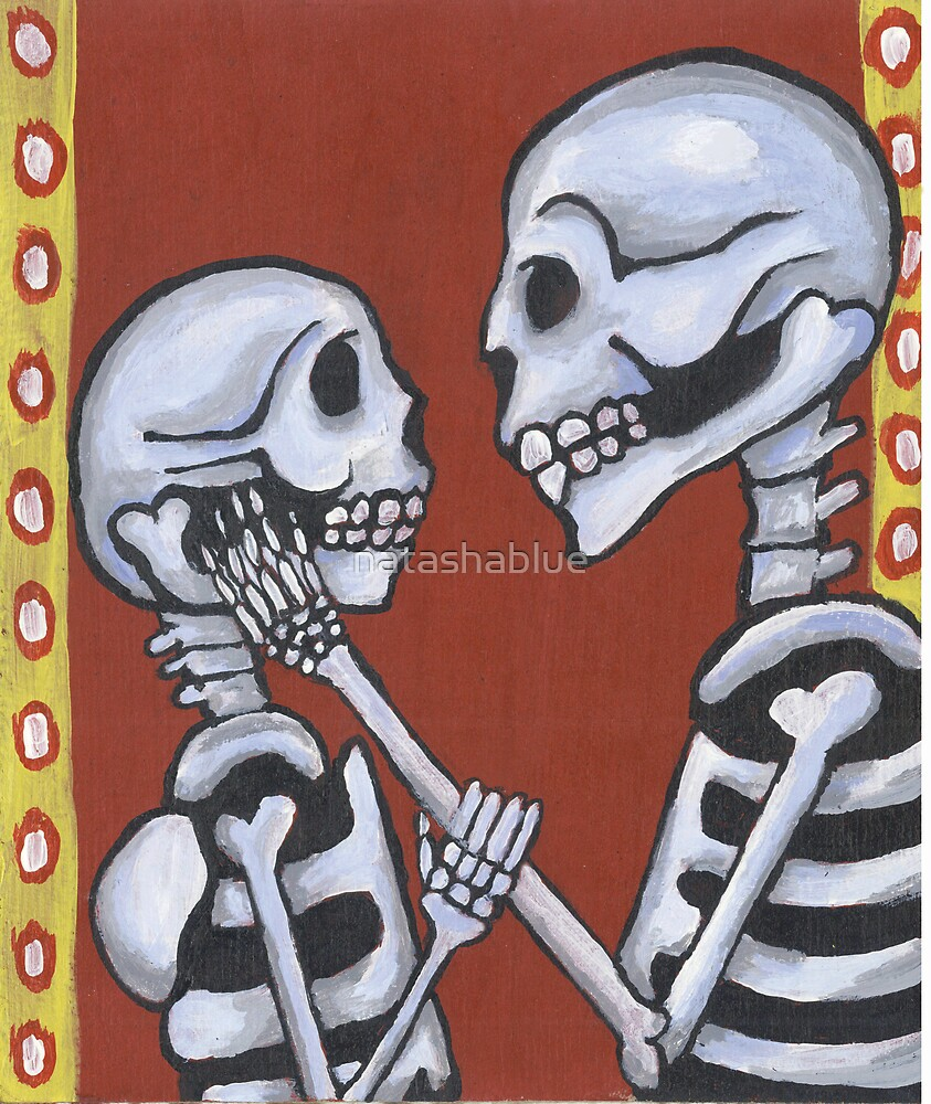 Dia de los Muertos Skeletons in Love by natashablue