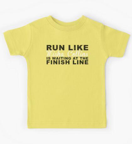 Run Like Misha Collins is Waiting at the Finish Line Kids Tee