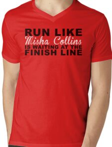 Run Like Misha Collins is Waiting at the Finish Line Mens V-Neck T-Shirt