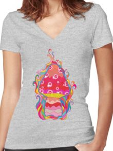 Psychedelic Mushroom Women's Fitted V-Neck T-Shirt