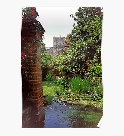 Winchester Cathedral Through a Close Garden Poster