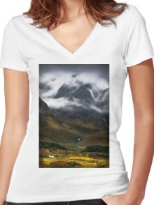 Blaven and malevolent weather. Isle of Skye, Scotland. Women's Fitted V-Neck T-Shirt