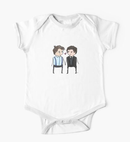 Jack And Ianto Chibis One Piece - Short Sleeve