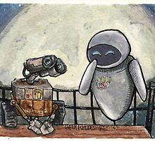 Wall-E and EvE by BethRhodesArt