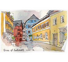 Travelsketch- Town of Hallstatt in Austria Poster