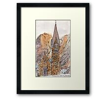 Travelsketch- Church in Hallstatt, Austria Framed Print