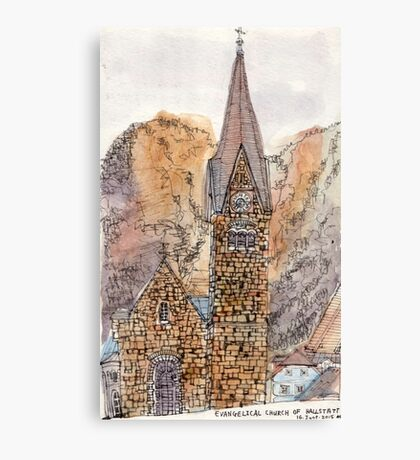 Travelsketch- Church in Hallstatt, Austria Canvas Print