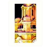 Melbourne City lights on Flinders Art Print