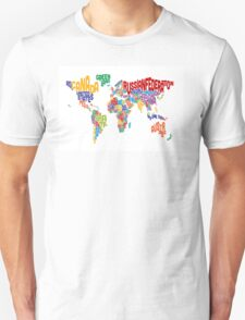 Text Map of the World Unisex T-Shirt