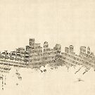 Boston Massachusetts Skyline Sheet Music Cityscape by Michael Tompsett