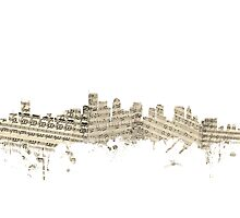 Boston Massachusetts Skyline Sheet Music Cityscape Photographic Print