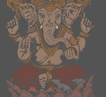 Ganesha sitting in Lotus by ramanandr